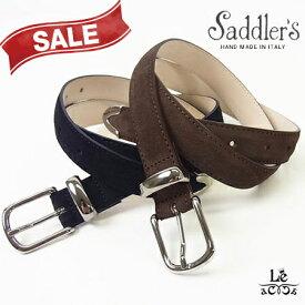 【30%OFF】Saddler's サドラーズ スエードベルト プンターレ カーフ 牛革 G167 2.5cm幅 ブラウン こげ茶 ネイビー 紺 イタリア製 8800