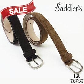 【30%OFF】Saddler's サドラーズ スウェードベルト カーフスエード SG02 本革 牛革 ブラウン こげ茶 イタリア製 8250