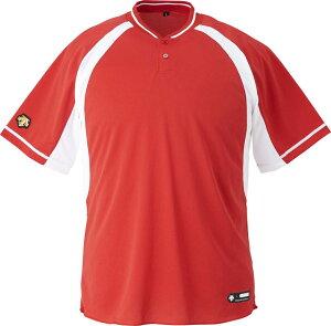 デサント(DESCENTE)【男女兼用野球・ソフトボール用ウェア】2ボタンベースボールシャツ(ds-db103b-rdsw)