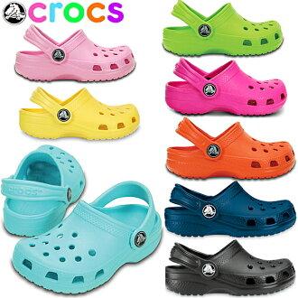 休闲的古典钟表的小孩拖鞋crocs classic kids 10006小孩鞋拖鞋拖鞋椰子 ●