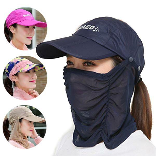 【送料無料】女性用日焼け防止 帽子&フェイスマスク 日焼け対策 フェイスマスクキャップ