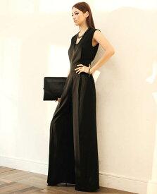 かっこいいパンツドレス ジャンプスーツ パーティードレス パンツ 大きいサイズ 3L 4L 5L オールインワン ワイドパンツ ノースリーブ 黒 ブラック フォーマル 韓国
