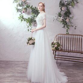 ウエディングドレス 大きいサイズ 3L 小さいサイズ ロングドレス 白 スレンダーライン トレーンドレス レース シースルー セクシー 袖あり 半袖 Vネック 二次会 花嫁 結婚式