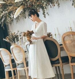 ウエディングドレス 大きいサイズ 小さいサイズ ミモレ丈 スレンダーライン エンパイアライン 二次会 花嫁 五分袖 袖あり Vネック ハイウエスト シンプル 結婚式