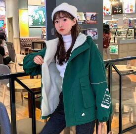 原宿系ファッション 韓国 ファッション 裏ボア もこもこ アウター 裏ボアレディース ジャンパー ブルゾン フード付き 大きいサイズ 3L 冬新作 秋冬 オーバーサイズ ビッグシルエット ゆったり