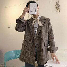 ジャケット レディース テーラードジャケット グレンチェック アウター ダブルボタン 長袖 ロング丈 ゆったり カジュアル レトロ フリーサイズ 秋 冬 韓国