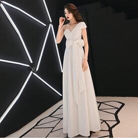 ウエディングドレス ウエストリボン 小さいサイズ 大きいサイズ 3L 4L ワンショルダー ノースリーブ スレンダーライン ハイウエスト 花嫁 結婚式 二次会