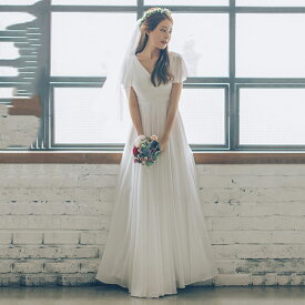 ウエディングドレス エンパイアライン 大きいサイズ 小さいサイズ 二次会 花嫁 結婚式 ロング 袖あり 半袖 スレンダーライン ウエストマーク Vネック ドレープ シフォン フリル袖 シースルー クラシカル