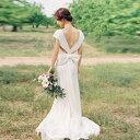 ウエストリボン ウエディングドレス カラードレス 大きいサイズ 赤 白 エンパイアライン スレンダーライン トレーンドレス 二次会 花嫁 結婚式 ロング 袖あり 半袖 Vネック 背中開き