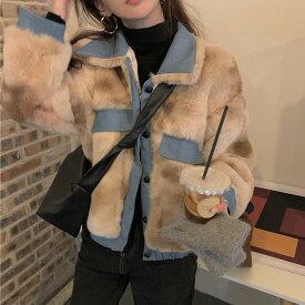 ショート丈 ファーコート レディース 秋冬 もこもこ アウター ボア ジャケット ブルゾン フェイクファー ショートコート オーバーサイズ ゆったり ビッグシルエット 韓国 ファッション