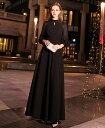 パーティードレス ロング 袖あり 長袖 ロングドレス 黒 結婚式 お呼ばれ ドレス 演奏会 大きいサイズ 3L 袖付き スタンドカラー フォーマルワンピース シースルー 肌見せ 透け感 ボリューム袖 シンプル 20代 30代 40代