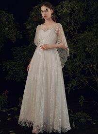 ウエディングドレス エンパイア 白 結婚式 二次会 花嫁 マタニティ ドレス ロングドレス 袖あり 大きいサイズ 3L 小さいサイズ ハイウエスト 体型カバー ケープスリーブ ベアトップ シースルー レース ナチュラル 上品
