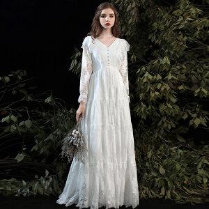 ウエディングドレス エンパイア 結婚式 二次会 花嫁 マタニティ ドレス 白 ロングドレス 袖あり 長袖 大きいサイズ 3L 小さいサイズ シースルー Vネック レース フリル ハイウエスト ゆったり