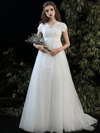 ウエディングドレス エンパイア 結婚式 二次会 花嫁 マタニティ ドレス 白 ロングドレス 袖あり 半袖 レースアップ 大きいサイズ 3L 小さいサイズ 体型カバー 花柄 刺繍 レース シンプル ゆったり ナチュラル 大人可愛い