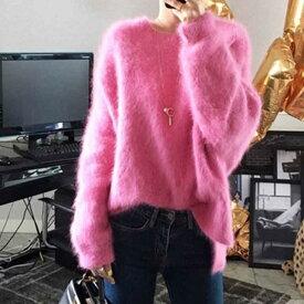 冬新作 秋冬 ニット セーター モヘア ゆるニット ふわふわ ゆったり 大きいサイズ 長袖 レディース トップス 韓国 ファッション