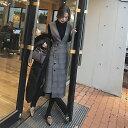 チェック ワンピース ジャンパースカート チェック グレンチェック ワンピース 2点セット レディース 長袖 大きいサイズ 冬新作 秋冬