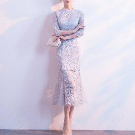レース ドレス マーメイド 七分袖 ミモレ丈 ワンピース 花柄 シースルー 大きいサイズ 2L 3L 4L 結婚式 二次会 パーティー お呼ばれ