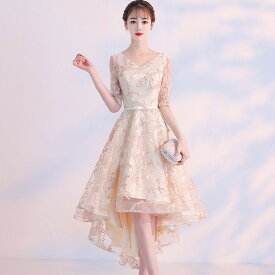 769f626558515 シャンパンゴールド フィッシュテール ドレス Vネック ショート丈 大きいサイズ ワンピース お呼ばれ 結婚式 韓国