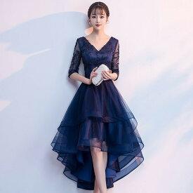 ドレス フィッシュテール 韓国 パーティードレス ワンピースドレス 袖あり 大きいサイズ 小さいサイズ aライン フレア お呼ばれドレス 結婚式 3L 4L セクシー エレガント vネック ウエストリボン ウエストマーク レース 20代 30代
