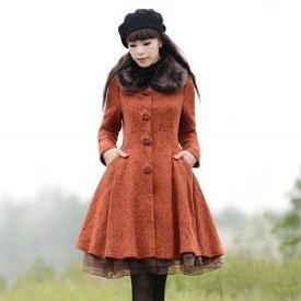 冬新作 フレアコート アウター ミディアム丈 レディース 韓国 ファッション 大きいサイズ 2L 3L 4L ひざ丈 襟ボア
