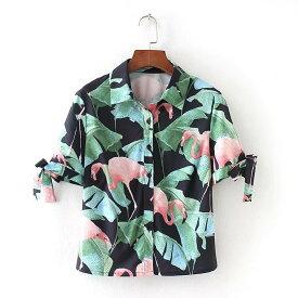 アロハシャツ フラミンゴ 開襟シャツ 半袖 リボン レディース トップス 袖スリット トロピカル