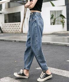 テーパード デニムパンツ レディース ボトムス ハイウエスト デニム 大きいサイズ 3l 4l 5l 6l ゆったり アンクル丈 ジーパン ジーンズ カジュアル おしゃれ 韓国 ファッション