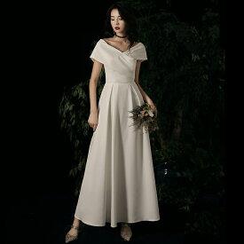 ウエディングドレス 花嫁 二次会 ドレス 白 ロングドレス 袖あり 結婚式 大きいサイズ 3L 4L 小さいサイズ Vネック ロング丈 Aライン ハイウエスト エレガント 上品 シンプル