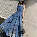 [一部即納] デニム ロングワンピース 大きいサイズ デニム ワンピース 夏 フレアスカート マキシワンピース Aライン 刺繍 ロング丈 3L 4L レディース カジュアル ノースリーブ