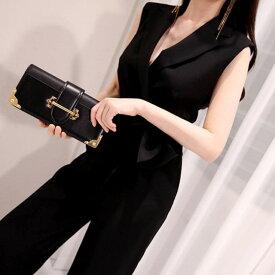 [一部即納] かっこいいパンツドレス パーティードレス パンツ 結婚式 パンツドレス 大きいサイズ パンツスーツ オールインワン ワイドパンツ 深vネック ノースリーブ 黒 お呼ばれ ウエストマーク ウエストリボン カシュクール 20代 30代 40代