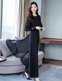 パンツドレス 結婚式 お呼ばれドレス 黒 韓国 パーティードレス セットアップ フォーマル シフォン ワイドパンツ 上品 大きいサイズ