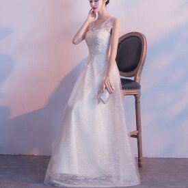 パーティードレス ロング ブライズメイド 大きいサイズ 3L 4L 刺繍 ノースリーブ 演奏会 結婚式 二次会 ウェディングドレス 総レース 白 ホワイト 花柄 Iライン 透け感 フェミニン エレガント