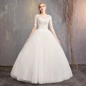 ウエディングドレス 大きいサイズ 白 二次会 花嫁 袖あり レース袖 ロングドレス ロング丈 レース 刺繍 Aライン 3L 4L 5L 6L