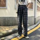 チェックパンツ レディース ワイドパンツ チェック 韓国 ファッション 原宿系 レディース パンツ ストレート ウエストゴム フリー 夏