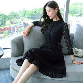 結婚式 お呼ばれ ドレス 20代 30代 40代 韓国 パーティードレス 黒 ブラック 総レースパーティードレス 黒ドレス 長袖パーティードレス 袖あり ひざ丈 裾フレア きれいめ 上品 二次会 白 ホワイト