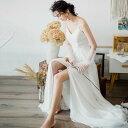ウエディングドレス 結婚式 お呼ばれ ドレス 花嫁 二次会 ドレス 白 ロングドレス スレンダーライン フィッシュテール マキシ丈 ノースリーブ ホワイト 無地 Vネック フェミニン