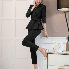 セットアップ パンツスーツ ウエストリボン Vネック フレア カシュクール 七分袖 レディース 大きいサイズ 結婚式 お呼ばれ 通勤服
