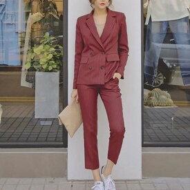 セットアップ パンツスーツ フォーマル 七分丈 ストライプ 大きいサイズ レディース パンツ ジャケット ベーシック ゆったり 通勤 3L