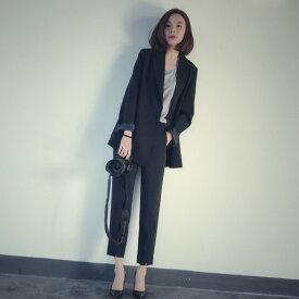 セットアップ パンツスーツ ゆったりジャケット オーバーサイズ スーツ レディース フォーマル 大きいサイズ ゆったり シンプル 通勤 黒