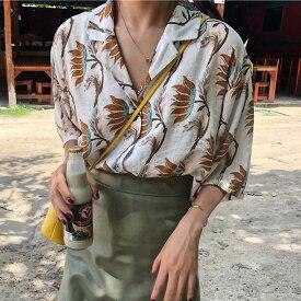 アロハシャツ オープンカラー 開襟シャツ 花柄 半袖 レディース トップス シャツ ゆったり 体型カバー 個性的 襟付き 女子会 春夏 20代