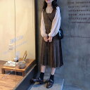 [一部即納] ロングワンピース 2点セット セットアップ ブラウス グレンチェック ジャンパースカート 大きいサイズ バルーン袖 フリル ガーリーワンピース