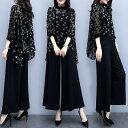 パンツドレス ドレス 結婚式 お呼ばれ パンツ ワイドパンツ セットアップ 韓国 パーティードレス 大きいサイズ 長袖 袖あり 黒 ゆったり 体型カバー