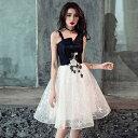 韓国 パーティードレス 黒 ブラック ミニドレス フレアスカート チュールドレス 結婚式 お呼ばれドレス 20代 パーティードレス 大きいサイズ ショート丈 ノースリーブ ワンショルダー 花柄 刺繍 Aライン セクシー エレガント