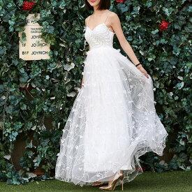 ウエディングドレス 大きいサイズ ウエディングドレス 白 二次会 花嫁 刺繍 レース キャミソール ミドルウエスト 小さいサイズ 結婚式