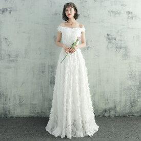 [一部即納] ウエディングドレス 大きいサイズ ウエディングドレス 白 二次会 花嫁 刺繍 レース フェザーモチーフ オフショルダー 小さいサイズ 3l スレンダーライン シンプル