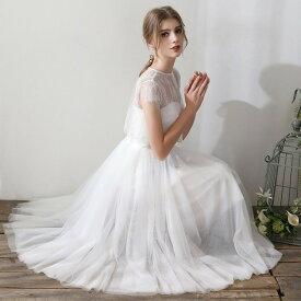 ウエディングドレス 白 二次会 花嫁 ウエディングドレス ミモレ丈 袖あり 大きいサイズ キャミソール 刺繍 レース シンプル ボレロ