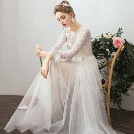 ウェディングドレス 大きいサイズ ウェディングドレス 袖あり 長袖 ウェディングドレス 白 二次会 花嫁 刺繍 レース ベールスカート