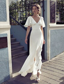 ウェディングドレス 大きいサイズ ウェディングドレス 白 二次会 花嫁 ウェディングドレス 袖あり フレアスリーブ リゾートウェディング
