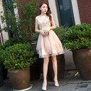 パーティードレス 大きいサイズ 結婚式 二次会 ワンピース お呼ばれドレス パーティー ミニドレス Uネック Vネック スパンコール 韓国
