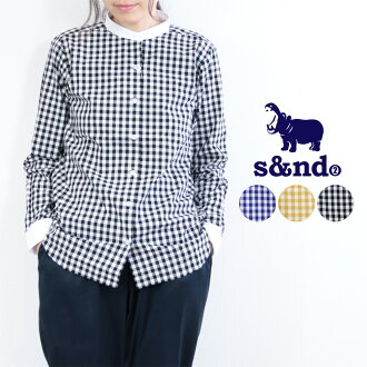 Lady's fashion in autumn s&nd セカンドギンガムクレリックバンドカラーシャツ long sleeves shirt check unisex spring and summer in twenties in 30s in 40s
