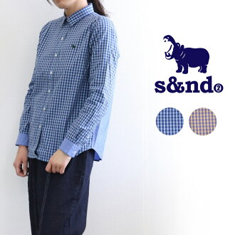 Lady's fashion men unisex in the s&nd (second) color gingham X plain fabric combination long sleeves shirt regular color four season in twenties in 30s in 40s